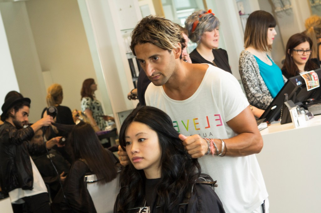 Couturing Beauty Editor, Katherine having her hair done by Eleven Australia Creative Director, Joey Scandizzo