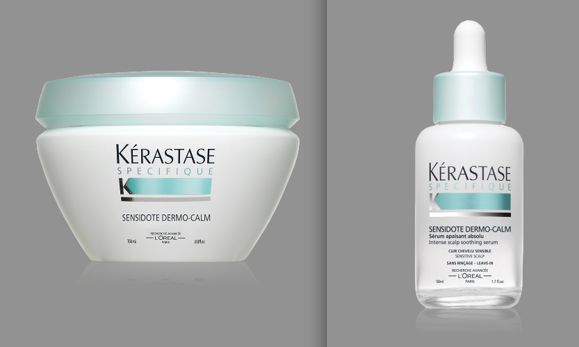 (L-R) KÉRASTASE PARIS SPÉCIFIQUE SENSIDOTE DERMO-CALM SMOOTHING CALMING MASQUE RRP$60.00 | KÉRASTASE PARIS SPÉCIFIQUE SENSIDOTE DERMO-CALM INTENSE SCALP SOOTHING SERUM RRP$44.50