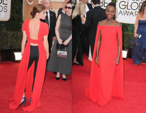 L to R: Emma Watson in Dior Couture, Lupita Nyong'o in Ralph Lauren