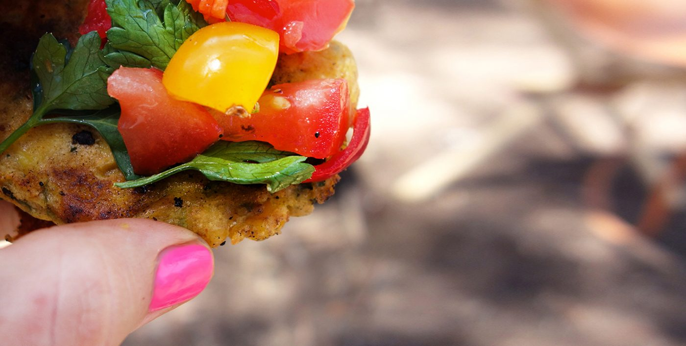 Fat Stacks - The Ultimate Gluten Free Vegan Corn and Zuchinni Fritters with Tomato Salsa