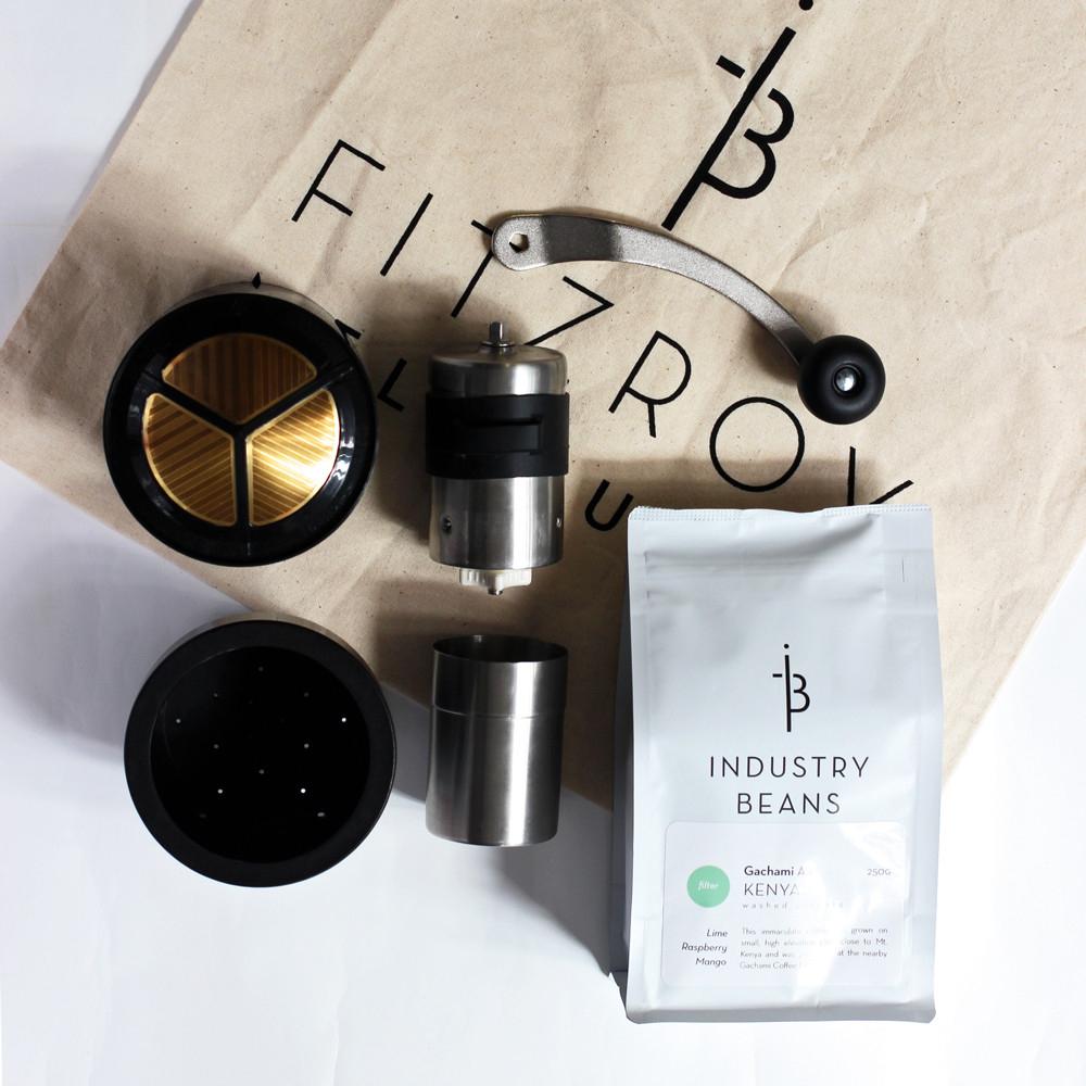 Industry Beans Brewing Kit Porlex Hand Held Grinder Frieling Gold Mesh Filter