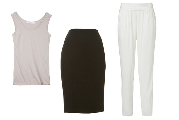 L to R: Skin & Threads 'One The Fold' tank, Saba 'Gabriella' pencil skirt, Seed Hertiage Wide Leg Pant