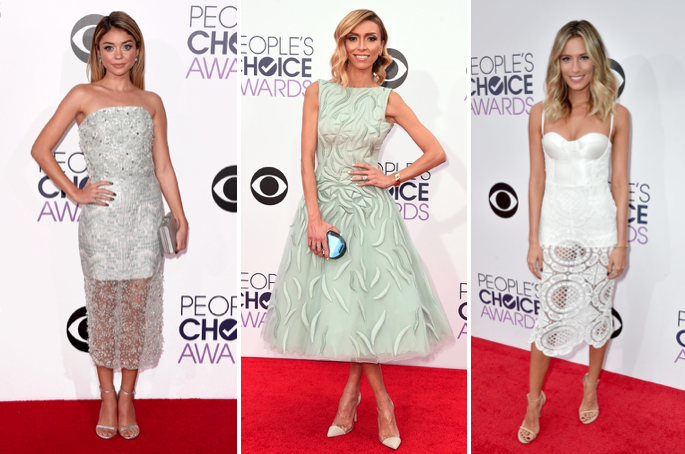 L to R: Sarah Hyland in Christian Siriano, Guiliana Rancic in, Renee Bargh in Misha Collection