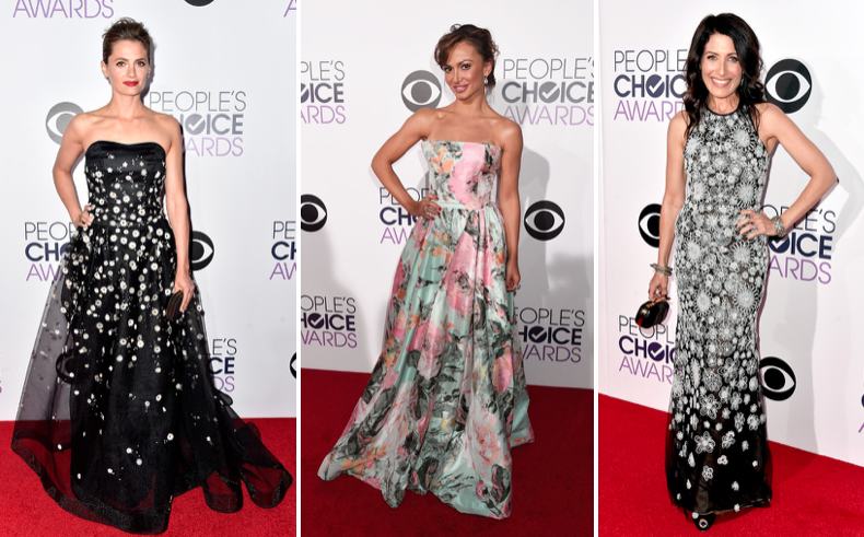 L to R: Stana Katic in Carolina Herrera, Katrina Smirnoff in , Lisa Edelstein in