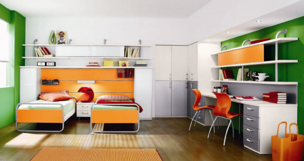 interior-ideas-inspiring-boy-and-girl-room-by-yellow-twin-bed-on-the-laminated-wooden-flooring-feat-study-table-and-orange-chairs-in-the-white-wall-color-remarkable-boy-and-girl-room-give-happiness-fo