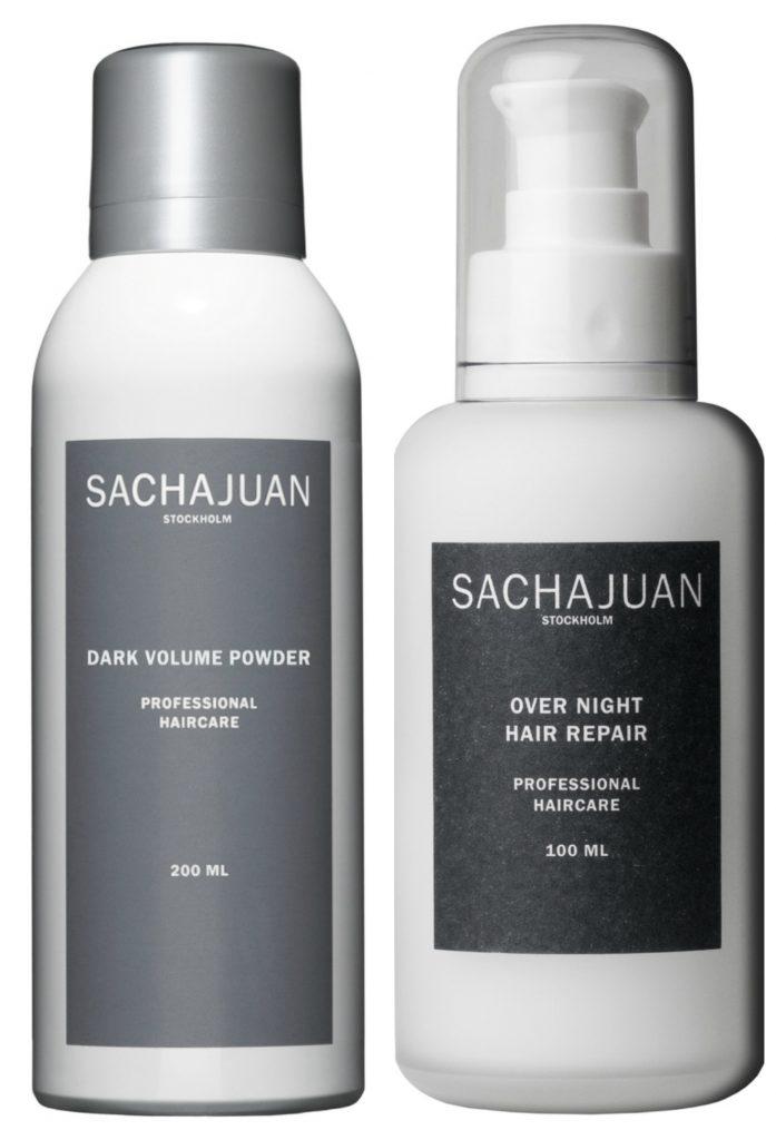 SACHAJUAN Dark Volume Powder 200ml $40 (left), SACHAJUAN Over Night Hair Repair 100ml $57 (right). Available at www.sachajuan.com.au