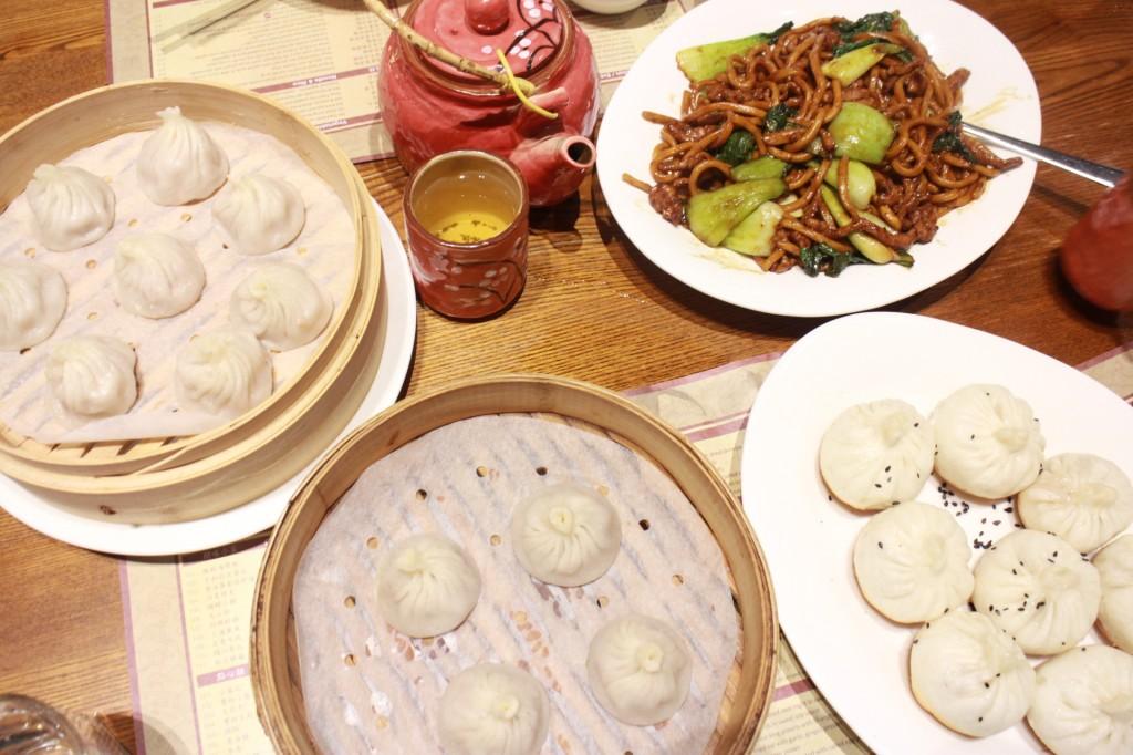 "My ""must haves"" at New Shanghai Clockwise L:R Xiao Long Bao, Shanghai Fried Noodles, Pan Fried Pork Buns, Truffle Xiao Long Bao"
