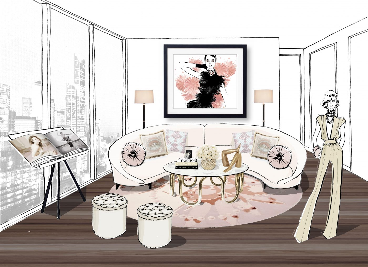 beige wallpaper living room