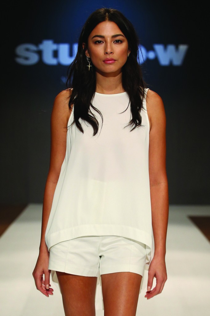 Jessica Gomes showcases designs by Studio.W during the label launch at David Jones Elizabeth Street Store on August 20, 2015 in Sydney, Australia.