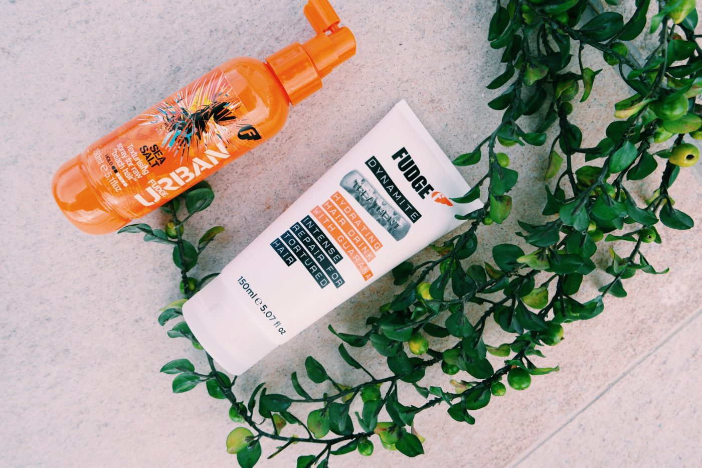 (L-R) FUDGE Urban Intense Repair for Totured Hair ($18.95), Fudge Urban Sea Salt ($9.95). Image: Ghadeer El-Khub