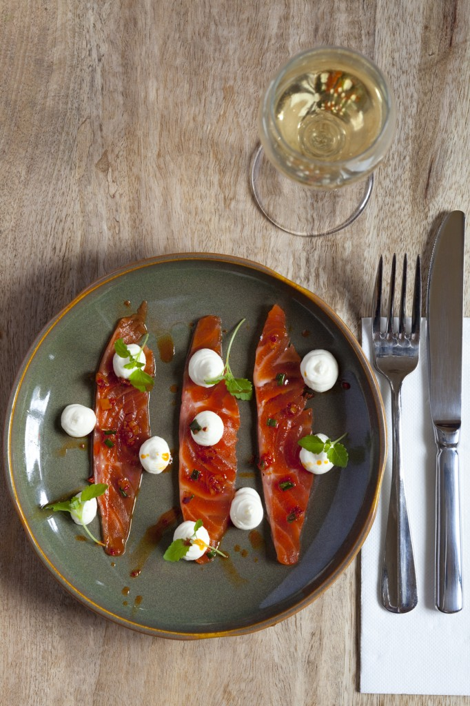 Four Pillars Gin Cured Buxton Trout w Goats Cheese[2]