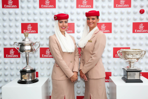 Emirates Cabin Crew and the Australian Open Trophies
