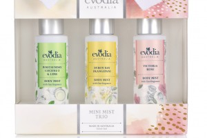 Evodia - Mini Mist Trio - Whitsunday Coconut and Lime, Byron Bay Frangripani and Victoria Rose - RRP $19.95